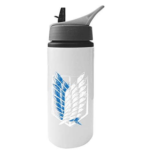 Cloud City 7 Attack On Titan Wings of Freedom Aluminium Water Bottle with Straw