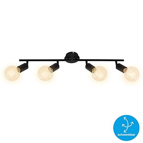 Briloner Leuchten Spotleuchte, Deckenspot 4-flammig, Retro/Vintage, Spotköpfe dreh- und schwenkbar, 4x E27, max. 60W, Metall, Schwarz, 60 W