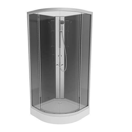 EISL ORR351 Duschkabine Komplettduschkabine Salzburg mit Rundeinstieg, 90 x 90 cm, Komplettdusche, Fertigdusche, Rundddusche, Silber/Schwarz