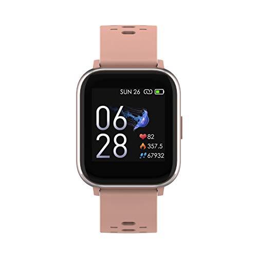 Denver SW-163 Bluetooth-Smartwatch mit Herzfrequenzsensor und Körpertemperatursensor Rose
