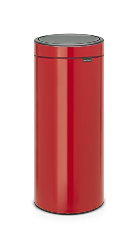 Brabantia - 115189 - Poubelle Touch Bin Unie New, 30 L - Rouge Passion