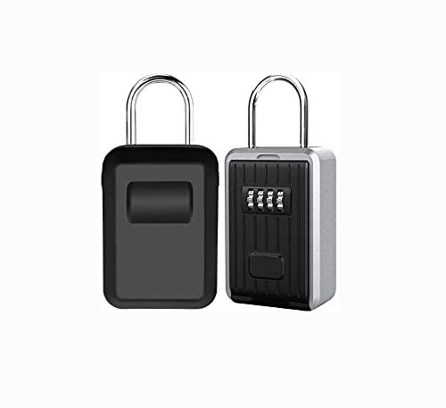 Shiwaki con Cerradura de combinación de 4 dígitos, Caja de Seguridad para Llaves,montada en la Pared,Oficina en casa, Garaje, Escuela, Gimnasio, Llaves de Repuesto para la casa (Negro)