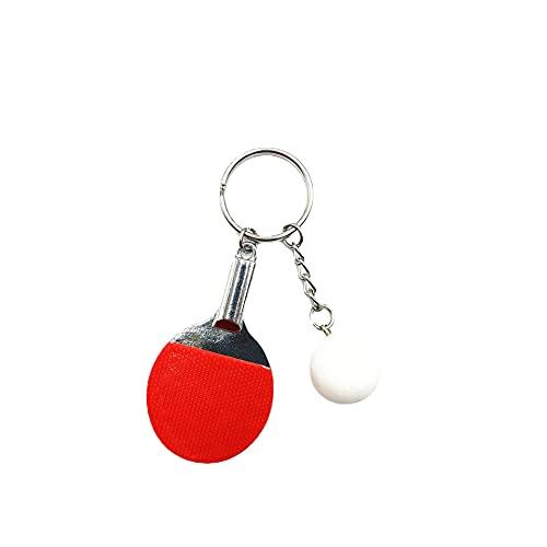 Raqueta de tenis de mesa modelo de dos piezas traje atleta coche llavero mochila llavero colgante creativo regalo rojo