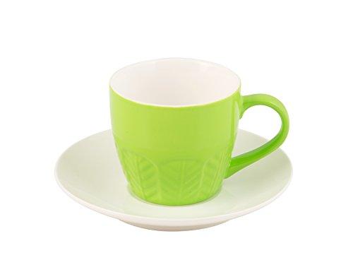 H & H Set koffiekopjes met borden, Bone China, groen, 130 ml, 6 stuks