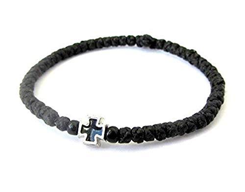 Handgefertigtes Komboskini (Gebetsschnur), christlich-orthodox, 33 Knoten, Schwarz, 5608B