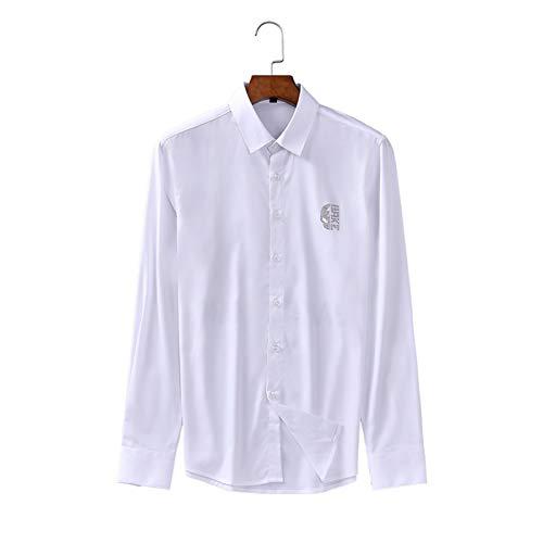 Camisa de Manga Larga para Hombre, Tendencia de Moda, Estampado de Diamantes, Transpirable, con Botones, Informal, de Negocios, Camisas Ajustadas, Tops XL