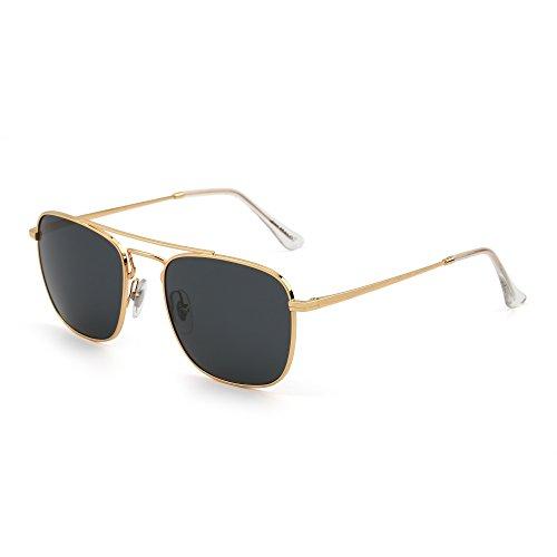 JIM HALO Retro Platz Flieger Sonnenbrille Premium Glas Linse Flach Metall Gläser Damen Herren(Gold/Grau)