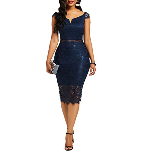 NOBRAND Sexy Damenkleid, Spitze, hohl, rückenfrei, elegant, Party-Chic, Retro-Kleid, schwarz-weiß, Spitzenkleider, Übergröße Gr. Small, 3