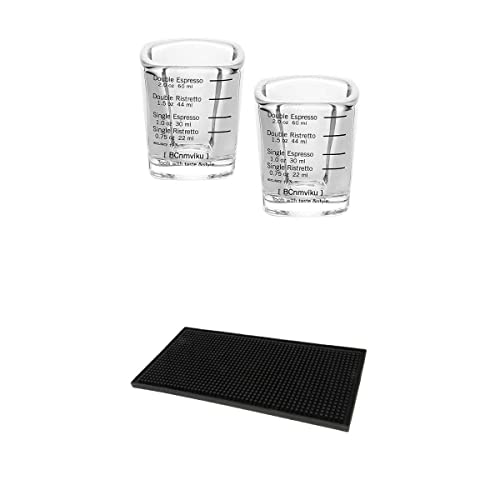 MagiDeal 2X Espresso Líquido de Vidrio de Vidrio Pesado + Servicio de Goma Estera de Derrame Antideslizante