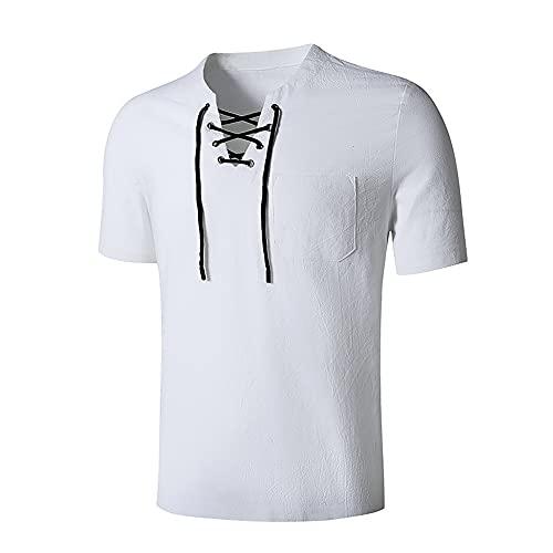 Shirt Hombre Básica Estilo Hip-Hop con Cordones Hombre T-Shirt Verano Color Sólido Hombre Shirt Casual Moderno Tendencia Moda Retro Manga Corta Hombre Ropa De Calle B-White S