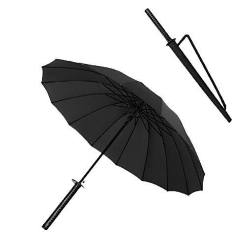 Umbrella Samurai Regenschirm mit langem Griff Langer Griff Wasserdicht und Winddicht Schwarz lackierter Stahl + Glasfaserschirm Skelettharzgriff 115cm Übergroßer Regenschirm