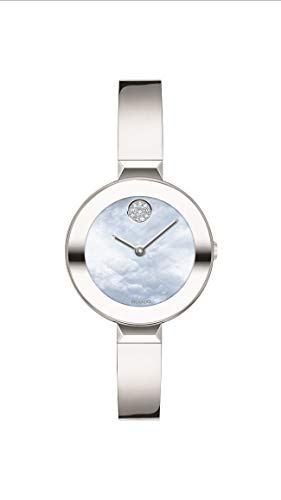 Movado Women's Bold Bangle Swiss Quartz Watch with Stainless Steel Strap, Silver, 8.5 (Model: 3600629)