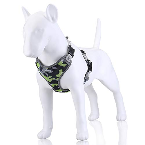 """Dog Harness, No Pull and Adjustable Vest Harness, Comfortable and Reflective for Small, Medium Dogs (S (15.5-20.5""""), Green)"""