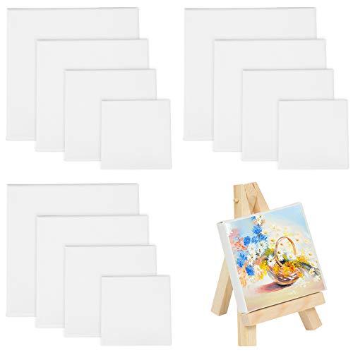 MEZOOM 12 Stück Leer Leinwandrahmen Malkarton zum Malen, Multisizes Leinwand Bemalen Ölmalerei Aquarell für Kinder Erwachsene DIY Professionell Kunstzeichnung (10/15 / 20 /25cm)