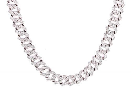 Zig Zag Bling'ed Out Necklace - New Cuban Z Links w/ 3 Row Diamonds on Each Side - GJ19101611 (Diamond Clear Gold)