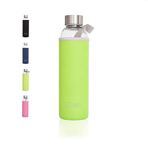 EZFAMA Botella de Agua Deportiva de Vidrio borosilicato 550ml con Funda de Nailon Prueba de Fugas Sin BPA Respetuoso del Medio Ambiente Ideal para Oficina Viaje Deporte Yoga Gimnasio Coche (Verde)