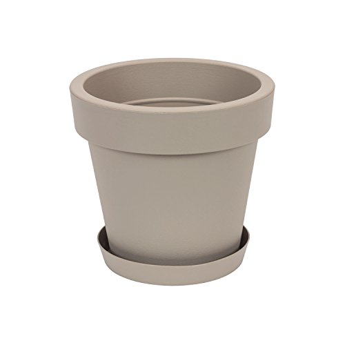 Pot de Fleur avec Soucoupe en Plastique Lofly, Classique, 25 cm diam, Beige