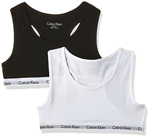 Calvin Klein 2Pk Bralette Reggiseno, Multicolore (White/Black 908), 14-16 Anni (Pacco da 2) Bambina