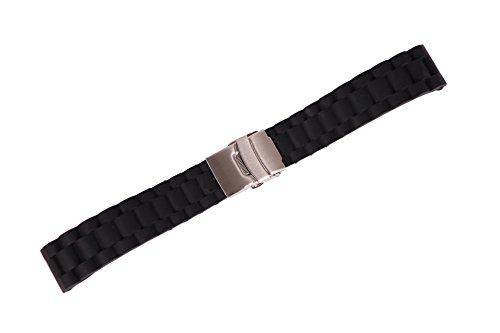 reloj pulsera de neopreno negro de 18 mm de la mujer con el grano en relieve la banda de reloj de silicona inteligente extremo recto