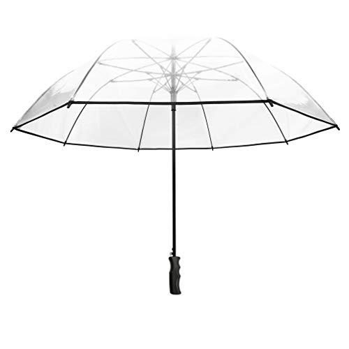 SMATI Grand Parapluie Golf Transparent - Solide ; Diamètre= 124cm ; Ouverture Automatique ; Parapluie Homme/Femme ; pour 2 Personnes ; Couleur liseré Noir