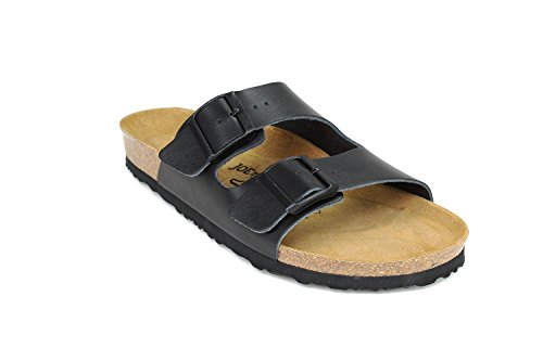 JOYCE London Unisex sandalen, comfortabele kurk-sandalen met comfortabele zool voor dames en heren, bovenmateriaal echt leer, pasvorm smal en normaal, maten 36-46, basic kleuren
