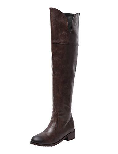 BIGTREE Damen Hohe Stiefel mit Blockabsatz Lack Leder Reißverschluss Winter Klassisch Biker Boots Kaffee 38 EU