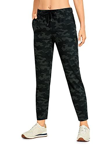 CRZ YOGA - Pantalones Deportivos Casuales con Bolsillo para Mujer -71cm Camuflaje de Oliva 42