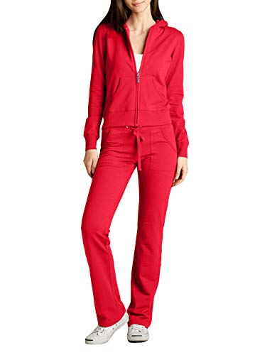 NE PEOPLE Womens Casual Basic Terry Zip Up Hoodie Sweatsuit Tracksuit Set S-3XL Red
