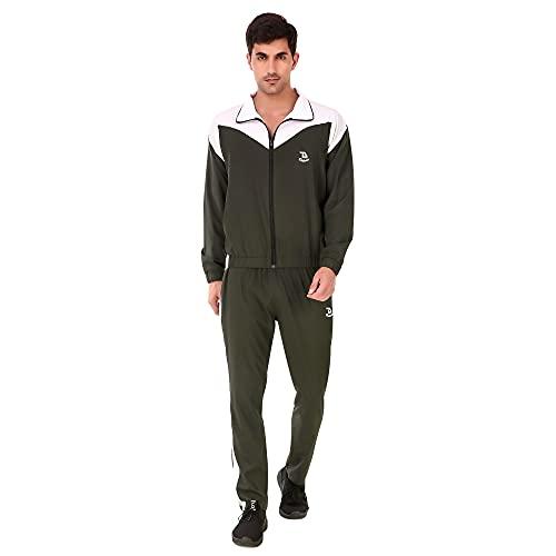Delexo Men's Nylon Silk Military Green Tracksuit