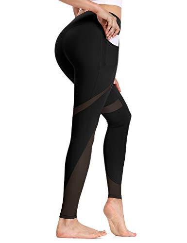 ALONG FIT Damen Mesh Leggings Blickdichte Sporthose mit Tasche Netzgarn Hohe Taille Lange Laufhose High Waist für Yoga Fitness Sport Schwarz L