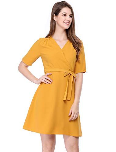 Allegra K Damen kurz Ärmel v-Ausschnitt Belted über das Knie Einer Linie Kleid x-Large (US 18) gelb