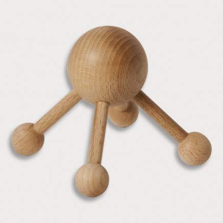 HOFMEISTER® Massage-Gerät aus Buchen-Holz, gegen Verspannungen & Schmerzen, Wellness & Entspannung für den Rücken, Naturprodukt aus Europa, Massage-Spinne, 4 Beine, 8 cm