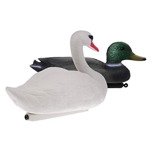 SM SunniMix 2 x Schwimmender Lockvogel Garten Figur Vogelscheuche Künstliche Swan und Enten