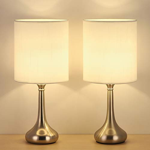 Bedside Table Lamps Set of 2 - Small Nightstand Lamps Modern Desk Lamps Set with Fabric Lamp Shade and Silver Metal Base for Bedroom, Living Room