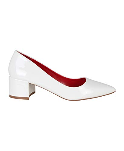KRISP Zapato Mujer Tacón Medio Fiesta Elegante Boda Rebaja Vestir Brillo Barato, Blanco (4005), 39 EU (6 UK), 4005-WHT-6