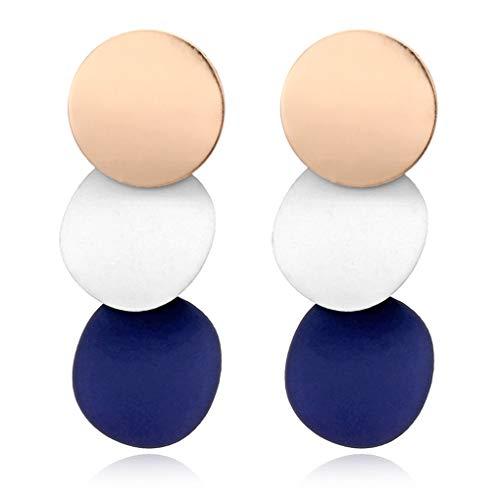 Forbestest Las Mujeres Elegantes Pendientes desiguales Redondas de Metal Brillante geométrica de aleación de Zinc Earstud Regalo de la joyería del oído de 3 Colores Barato Útil (Azul grisáceo)