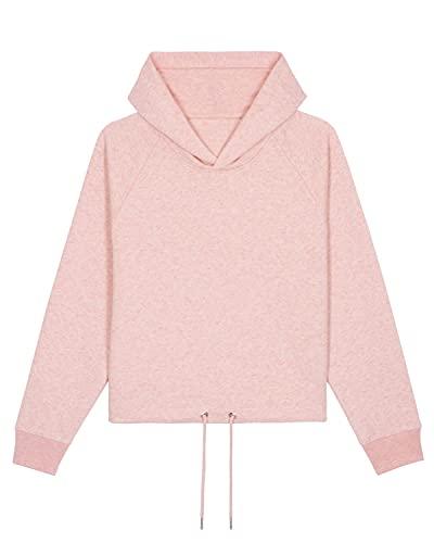 Naturalraw Sudadera corta con capucha para mujer. Color crema. L
