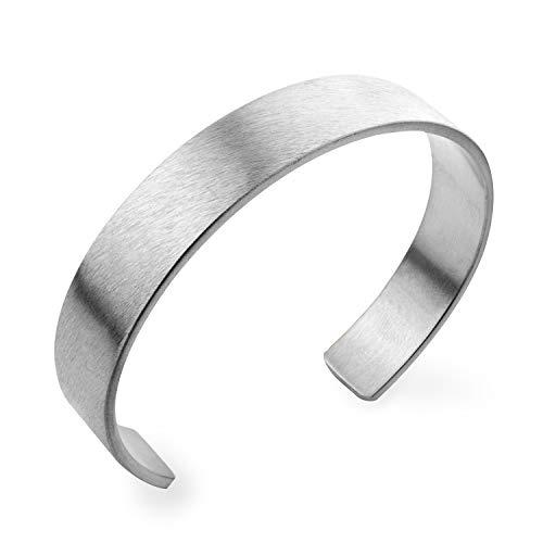 555Jewelry Stainless Steel Matte Open End Wide Cuff Unisex Bracelet Bangle L silver