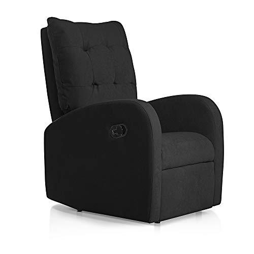 SUENOSZZZ-ESPECIALISTAS DEL DESCANSO Sillon Relax orejero reclinable Soft tapizado en Tela Antimanchas Negro