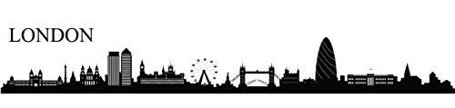 Forwall Wandtattoo London Wandaufkleber Wandsticker Sticker Selbstklebend - Großbritannien - Stadt - Stadtbild PVC SPA5 164cm x 38cm