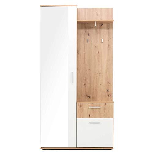 armadio guardaroba legno AVANTI TRENDSTORE - Jenis - Guardaroba Compatto in Legno Laminato di Colore Quercia Artigianale/Bianco. Dimensione Lap 97x196x30 cm (con Armadio specchiato)