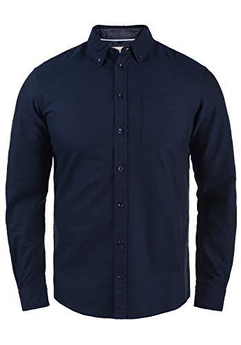Blend Dubbo Herren Hemd Langarmhemd Freizeithemd mit Button-Down-Kragen, Größe:L, Farbe:Navy (70230)