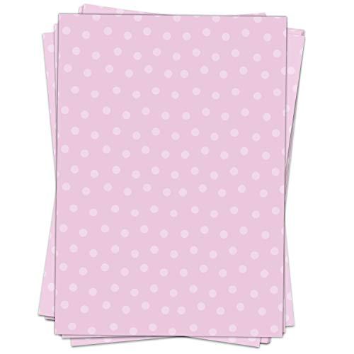 Schreibpapier/Briefpapier Motiv ROSA PUNKTE - 50 Blatt, DIN A4 Format - Papier beidseitig bedruckt, Geschenk für Mädchen