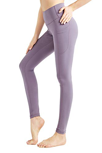 EEKOO Women's High Waist Yoga Pants with Pockets, Leggings with Pockets, Tummy Control Non See-Through Workout Pants (Lavender, Medium)