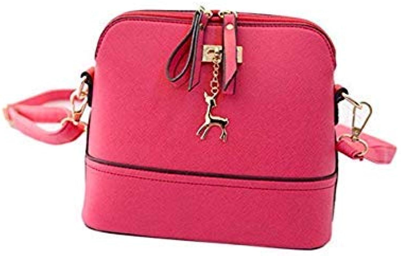Bloomerang New Women Messenger Bags Deer Ornaments Small Shell Handbag PU Leather Handbag Crossbody Bags for Women Fashion Bag 5 colors color Pink