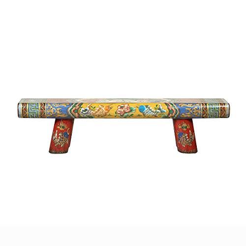 Yajutang Antike Chinesische Holzbank handbemalt Mehrfarbig