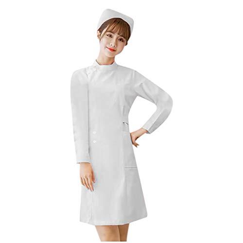 Deloito Slim-Fit Overalls für Damen Langarm Puppenkragen Arzt Kostüm Krankenschwester Mantel Healthcare Tunika Tops Maid Pflegekräfte Zahnarzt Uniform (Weiß-02, XXL)