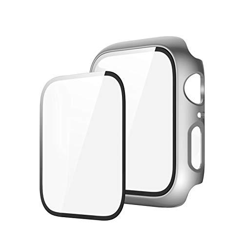 Funda compatible con Apple Watch Series 6/5/4/SE 40 mm 44 mm funda con protector de pantalla de PET + protector de pantalla de vidrio templado para iWatch Cover Case (44 mm, plateado)
