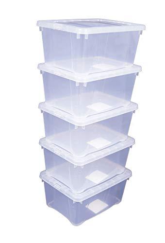 Spetebo 5X Klarsichtbox mit Deckel - 20 x 15 x 9 cm - 5er Set stapelbare Boxen