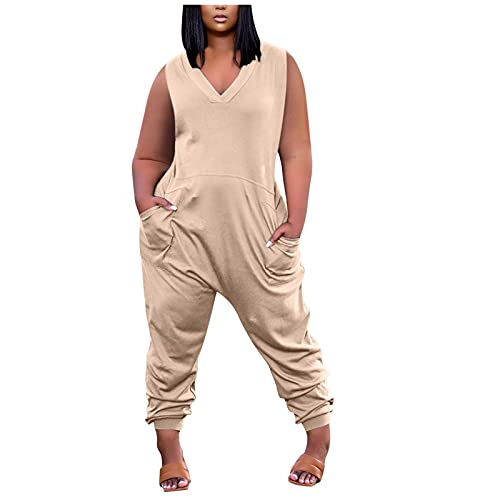 BUKINIE Damen Casual Lose Baggy Bib Pants Sommer V-Ausschnitt Weites Bein Harem Overalls Jumpsuits Casual Rompers Plus Size Gr. XXL, khaki